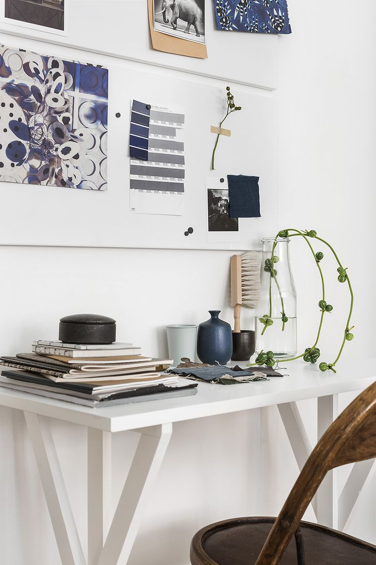 blue work space styling, fantastic frank by linnéa salmén via http://www.scandinavianlovesong.com/