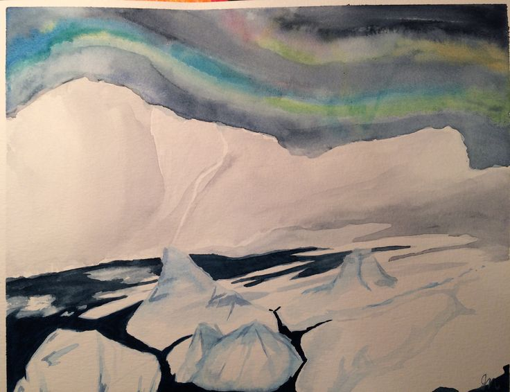 Arctic glacier. First time painting ice. Watercolour
