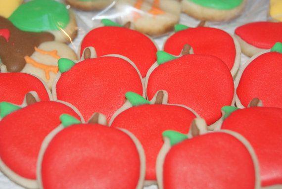 Apple Cookies  Mini Decorated Sugar Cookies by CustomCookiesbygigi