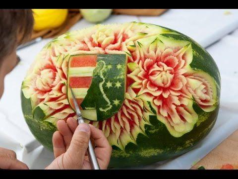 Cách tỉa dưa hấu đẹp   Carving flowers from Watermelon