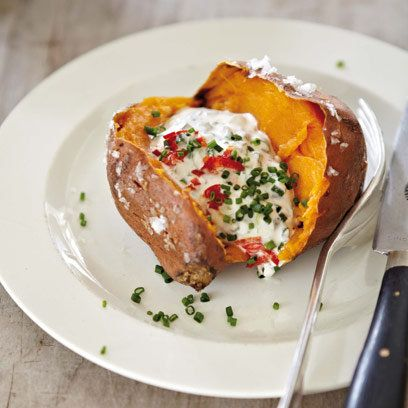 Jacket sweet potato with soured cream, chives and chilli - am having for dinner tonight! Via Red Magazine - a Mark Sargeant recipe