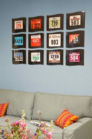 Get a RACER Wall Frame for your #race bibs. I could make this with a plaque, paint and mod podge
