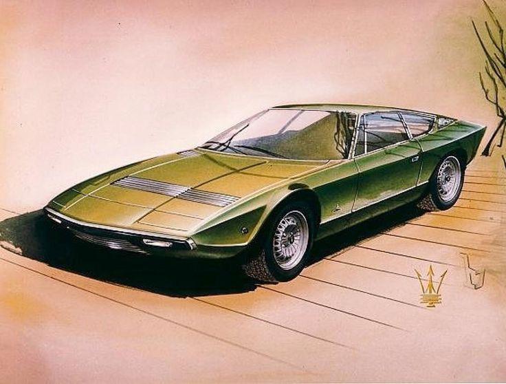 #Maserati Khamsin design sketch by Giorgetto Giugiaro at #Bertone (1972)