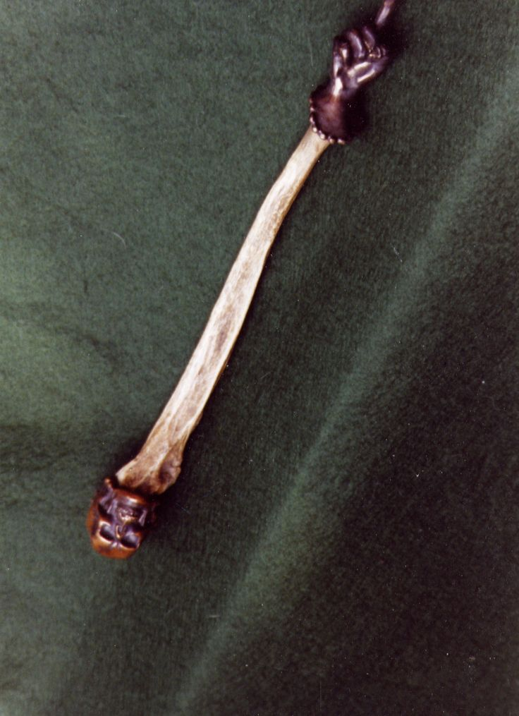 Pointing wand -  human bone and bronze from Victorian medical skeleton.