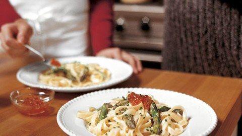 Lemon Fettuccine with Asparagus and Salmon Caviar Recipe | Bon Appetit
