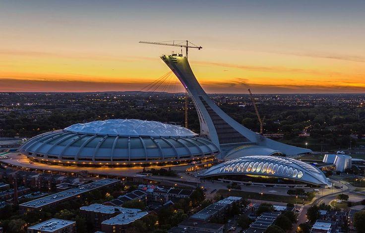 Olympic Stadium Sunset Mtl , #mtl #montreal #rooftop #roof #sunset #514 #lookdown #drone #urbex #urbanexploration #lights #citylights #cityscape #city #quebec #canada #stadium #olympics #sports #autumn #night #nightlights #nightlife #ilovemontreal