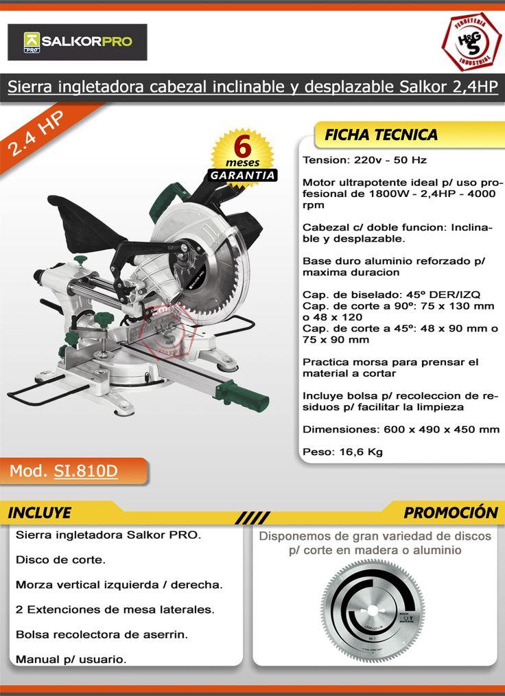 Sierra Ingletadora Salkor Telescopica 2,4hp 255mm Guia Laser - $ 4.299,99 en MercadoLibre