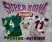 1997 Super Bowl Packers vs Patriots game t-shirt.