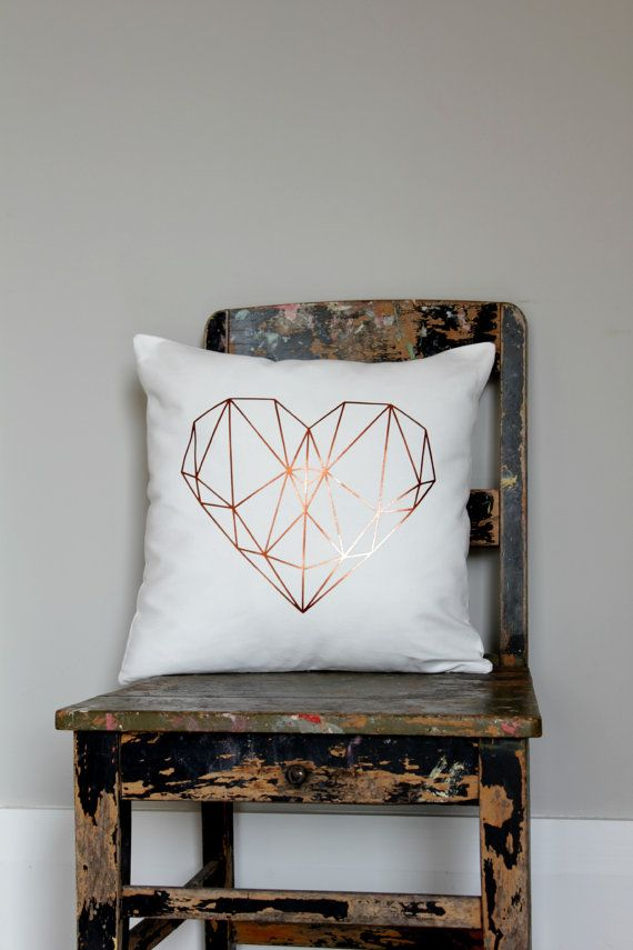 Geometric metallic copper heart design on white furnishing cotton pillow cover.  + Sizes 40 x 40cm approx. 16 x 16, 45 x 45cm approx. 18 x 18 50 x