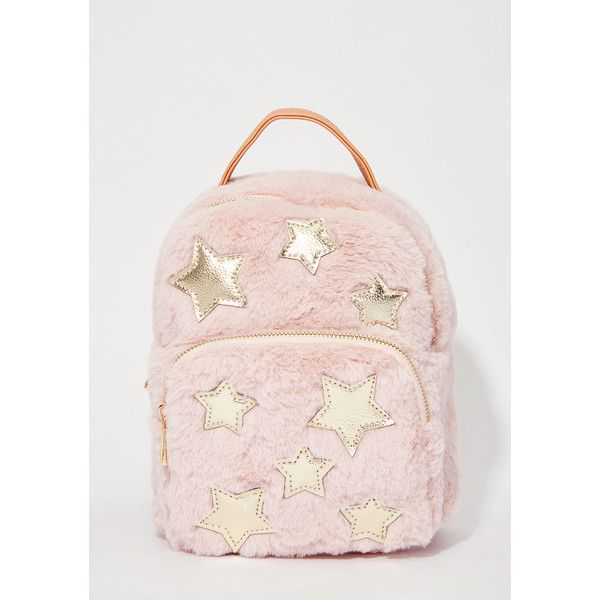 Stars Fuzzy Pink Mini Backpack ($38) ❤ liked on Polyvore featuring bags, backpacks, light pink, star backpack, day pack rucksack, light pink backpack, mini backpack and pink backpack