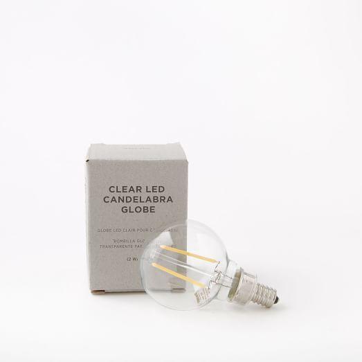Clear LED Candelabra Bulb, Globe 2W