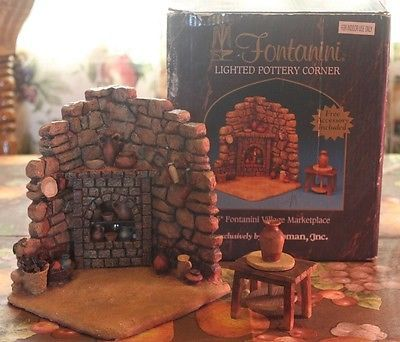 FONTANINI NATIVITY LIGHTED POTTERY CORNER W/ FLICKER LIGHT *RETIRED*