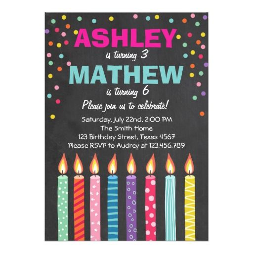 224 best Twins Birthday Party Invitations images – Candle Party Invitations