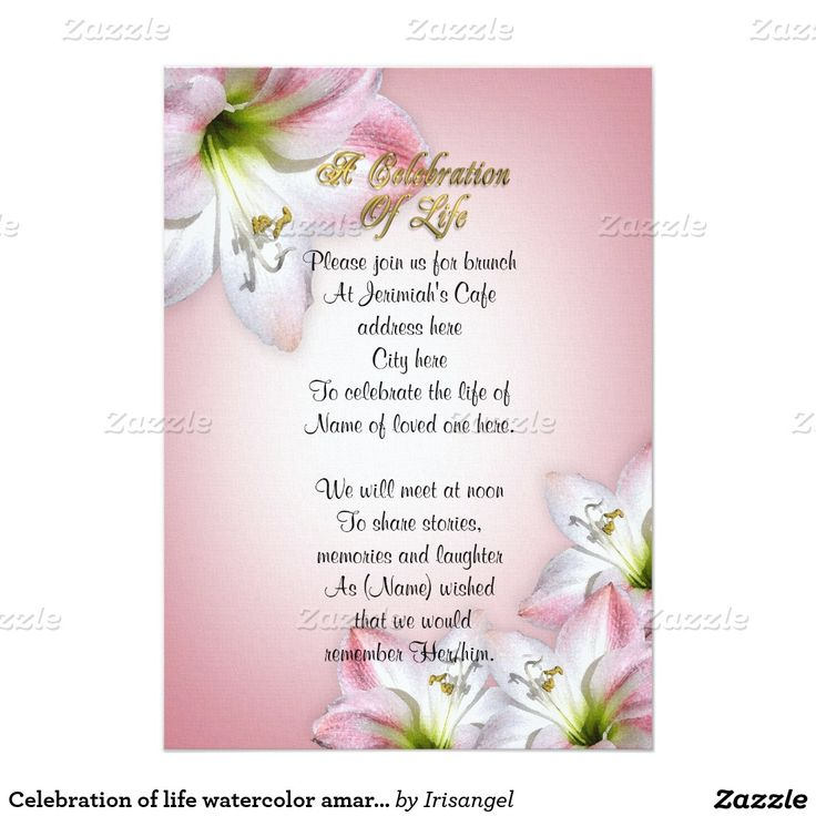 100 best Celebration of life Invitations images on Pinterest - funeral ceremony invitation