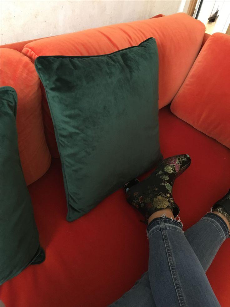 ORIGINAL: HAY hackney sofa, kvadrat burnt orange velvet fabric sample, 3 seater, comfy, dark green velvet, 1940s red and green, macbook, sofa, home decor, interior design, personal home