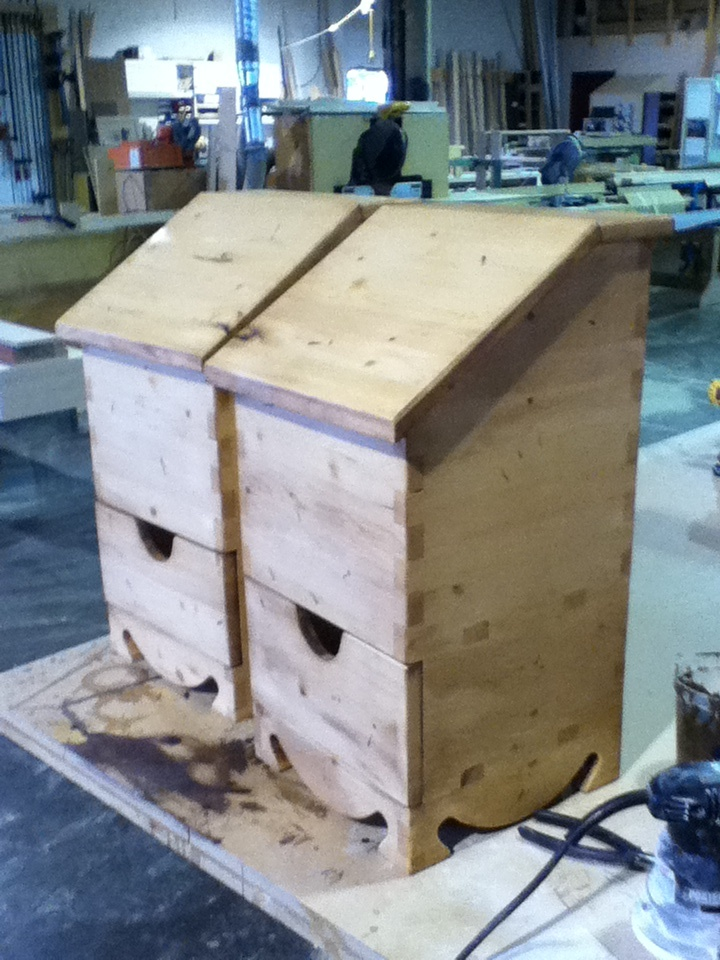Pine, potato boxes with sliding onion drawer - front detail