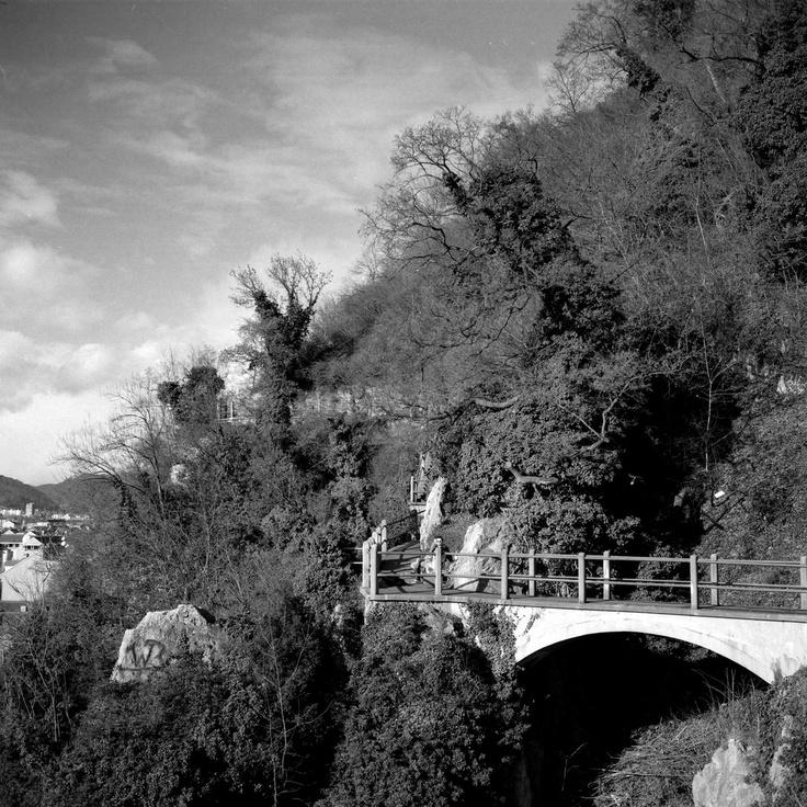 A bridge at the Felssteig in Graz, Austria.