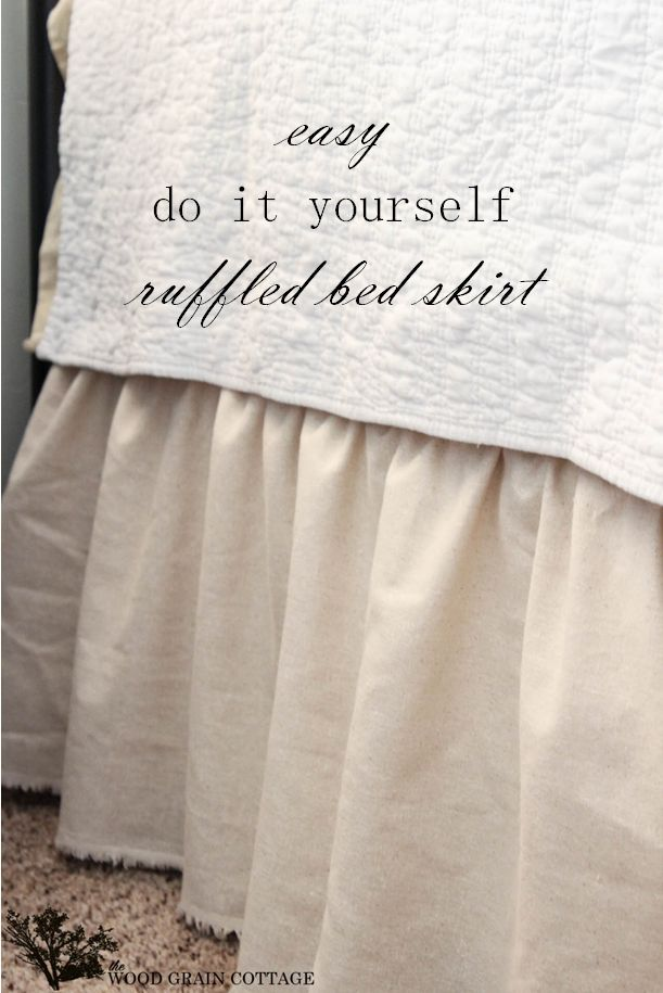 Easy DIY Ruffled Bedskirt by The Wood Grain Cottage