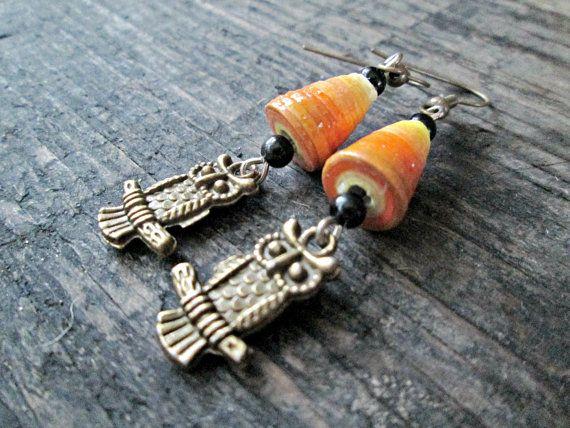 Uil sieraden - uil oorbellen - papier parel sieraden - Upcycled, gerecycled, voorzien - Eco-vriendelijke sieraden - oranje Jewelry - Ombre oorbellen