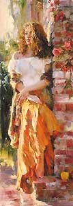 Waiting in the Courtyard - Michael and Inessa Garmash - World-Wide-Art.com - $950.00 #Garmash