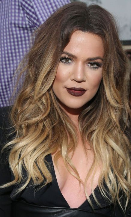 Khloe Kardashian's ombre waves and plum lipstick
