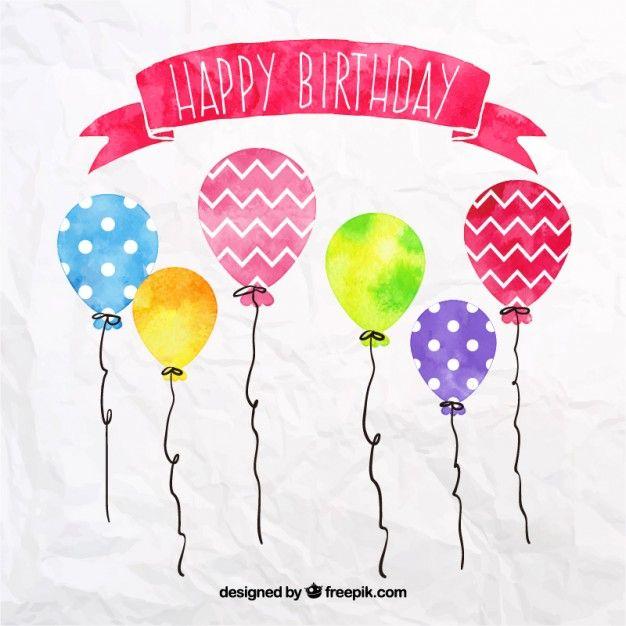 Balões de aniversário Aquarela Vetor grátis