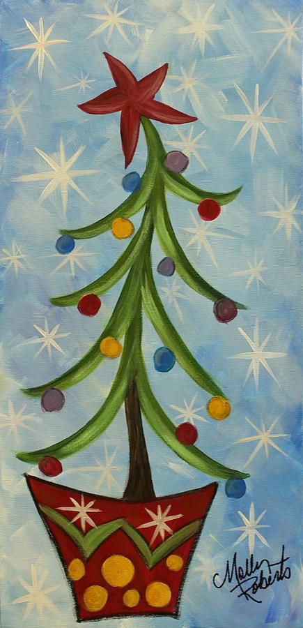 Vase Painting - Dancing Christmas Tree by Molly Roberts