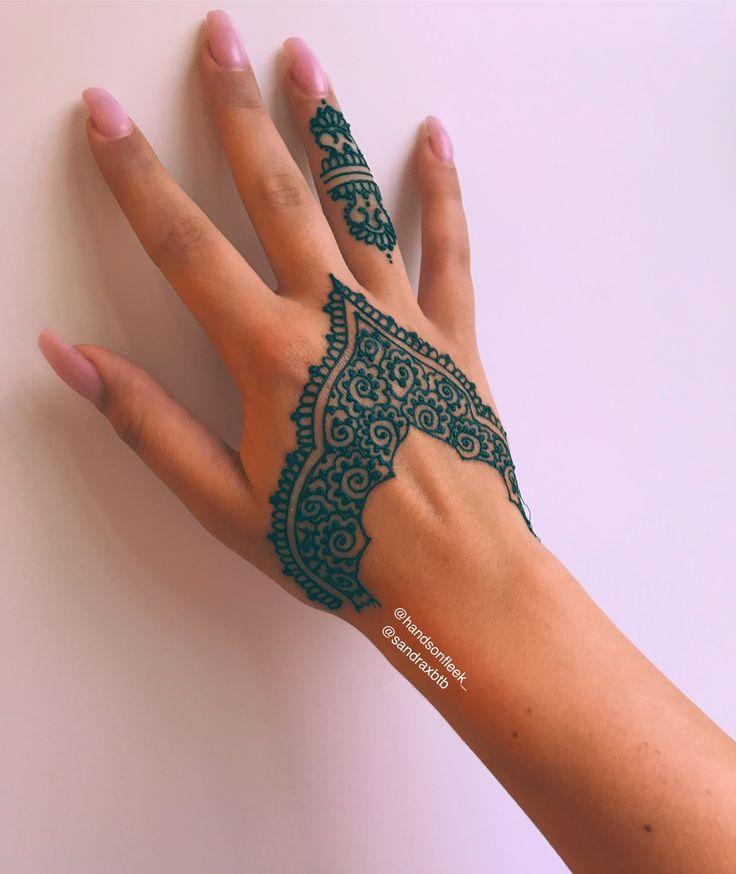 Henna design #nails #henna #handtattoo by me