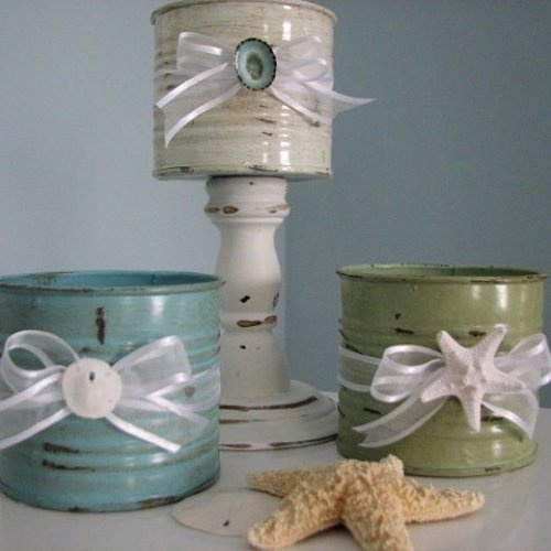 Cans, paint, ribbons and shells. Visit & Like our Facebook page! https://www.facebook.com/pages/Rustic-Farmhouse-Decor/636679889706127
