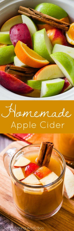Homemade apple cider in the slow cooker! It's so, so easy! Learn how on sallysbakingaddiction.com @Sally | Sally's Baking Addiction