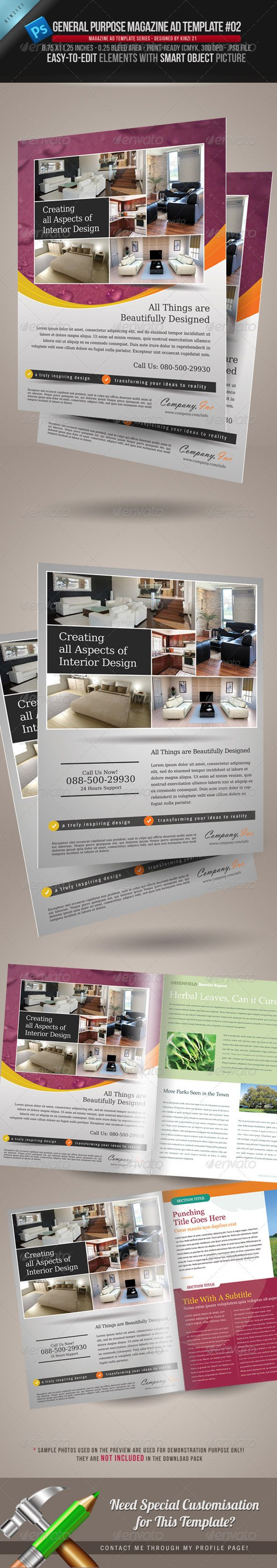 General Purpose Magazine Ad Template #02 | Fonts, Design styles ...
