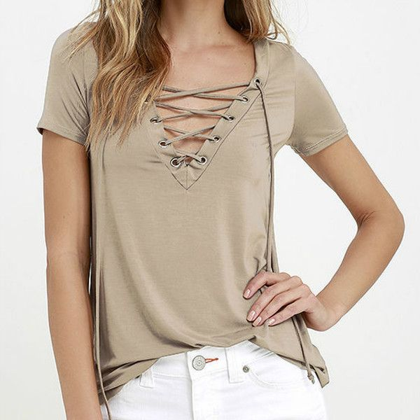 Summer Style Lace up Deep V Neck Top