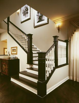 Very appealing treatment for treads and railings when updating your stairways to list your home.