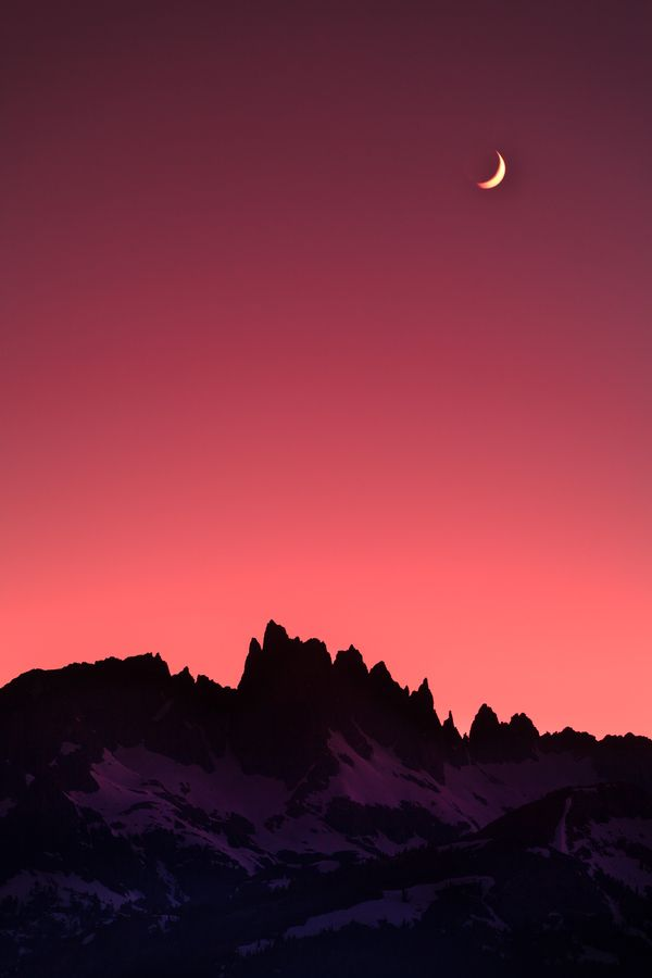 Moonset over Minarets,Sierra Nevada, California