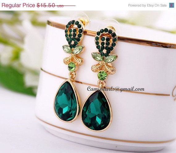 Classic Earrings,Emerald Crystal Earrings,Statement Necklace(E019)