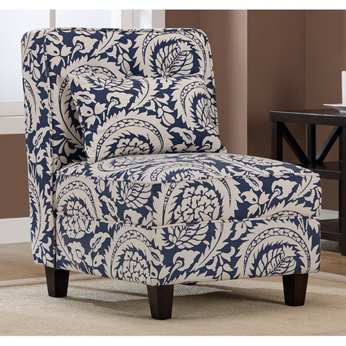 Best Modern Classic Blue Creme Floral Print Accent Armless 400 x 300