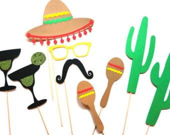 Photo Booth Props 10 Piece Cinco de Mayo Set by CraftingbyDenise