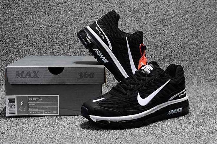 Nike Air Max 360 Running Women Men Shoes Black White