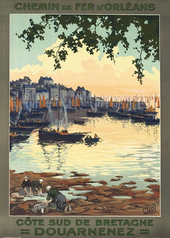 Vintage Railway Travel Poster  - Douarnenez - Côte Sud de Bretagne - par Charles  Hallo.