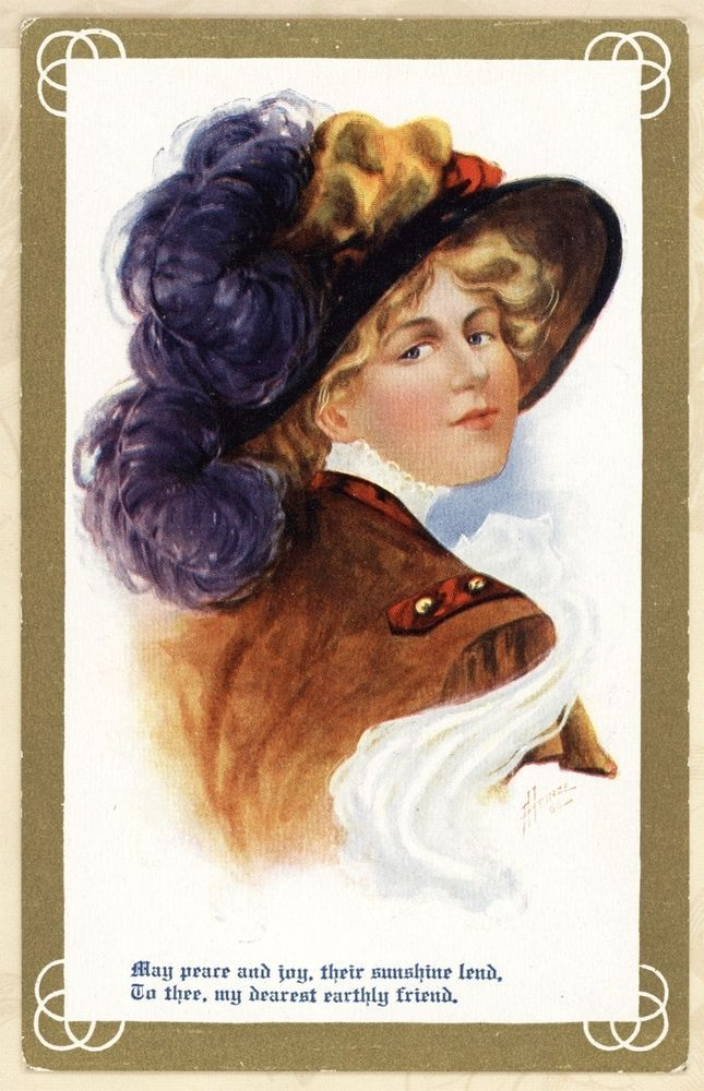 c1910 A/S Heinze Big Feather Hat Pretty Woman Leather Coat Vtg Antique Postcard