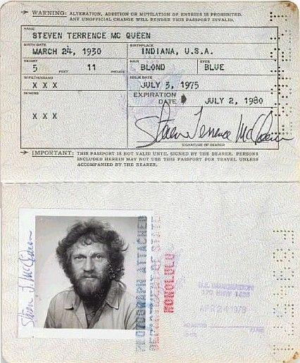Passeport de Steve McQueen valable du 3 juillet 1975 au 2 juillet 1980.