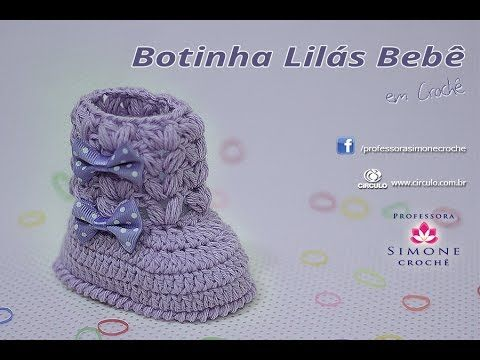 Botinha Lilas para bebê em Crochê - Professora Simone