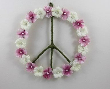 Pink And White Silk Flower Peace Sign by PeacePetalsAndPearls, $29.99