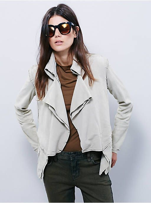 Free People Collarless Suede Jacket at Free People Clothing Boutique