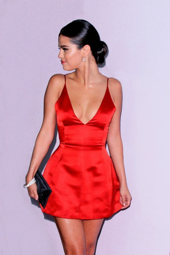 Red short dress with spaghetti straps # dress #Short #red #spaghetti straps