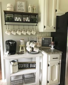 kitchen coffee corner We love the idea of repurposing an Ikea Lack library this create stylish coffee bar in a small kitchen. Plus it's easily paintable so you can match it with your existing decor. Via Only Deco Love | tags #coffee shop design layout#coffee shop design concepts#coffee shop design for small space#small coffee shop interior design#coffee shop interior design plan#coffee shop interior design photos#small coffee shop design concepts#best coffee shop design layout in the