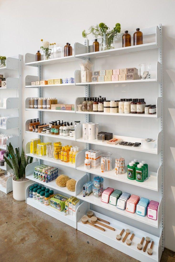 Retail display - cosmetics shelving.