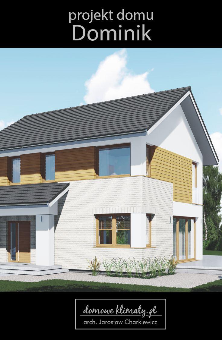 """Projekt małego, piętrowego domu o powierzchni użytkowej do 100 m2. Budynek wyposażony jest w jednostanowiskowy garaż. Dom wyróżnia się atrakcyjną, nowoczesną architekturą i bardzo wygodnym wnętrzem. Postawiono na efektywne wykorzystanie dostępnej przestrzeni. Na parterze zastosowano rozwiązania funkcjonalne umożliwiające stworzenie dużego, otwartego wnętrza w kształcie litery """"L"""". Jadalnię i salon usytuowano wzdłuż mocno przeszklonej elewacji ogrodowej."""