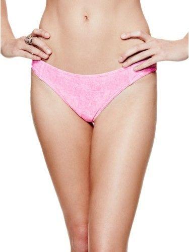 GUESS Women's Denim-Print Brazilian Bikini Bottoms
