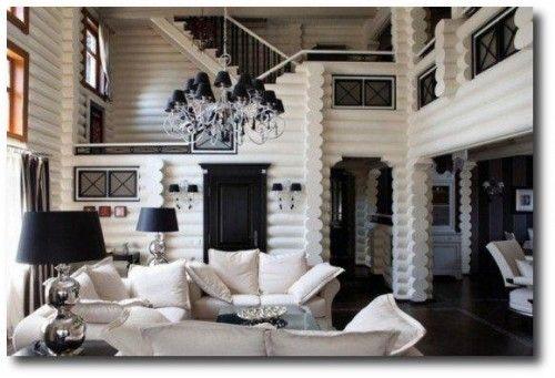 living room black white cabin interiors white interiors logs cabin. Black Bedroom Furniture Sets. Home Design Ideas